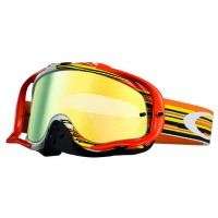 Oakley Crowbar Glitch Orange Yellow 24K Iridium Lens Motocross Goggles