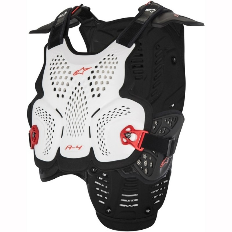 Alpinestars A4 Chest Protector Armour For Neck Braces White Red