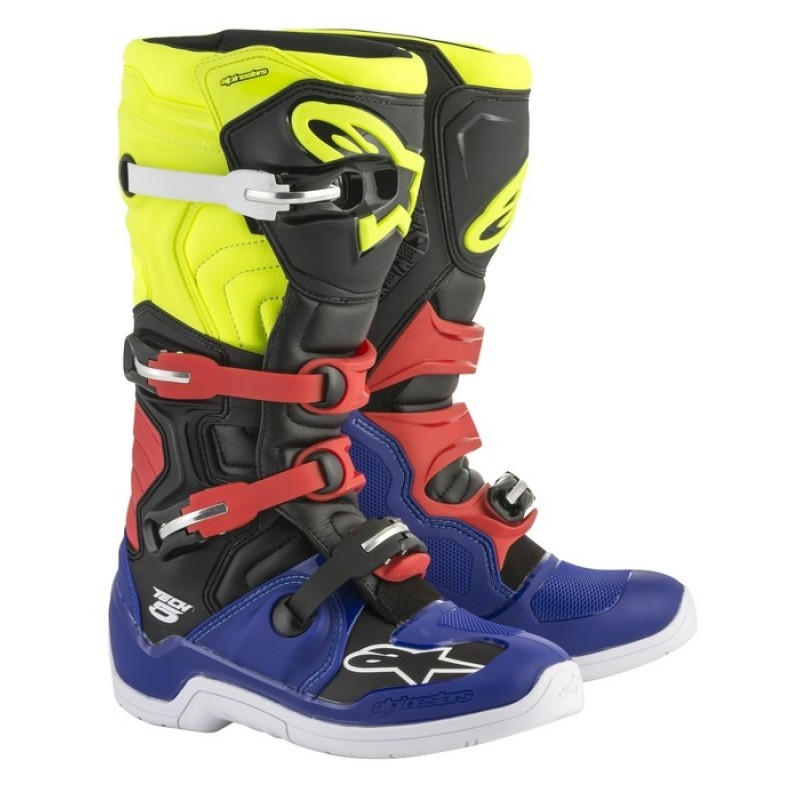 Alpinestar Tech 5 Motocross Boots Blue Black Flo Yellow Red
