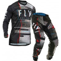 2020 Fly Racing Lite GLITCH Motocross Gear BLACK RED BLUE