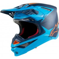 Alpinestars Supertech SM-10 SM10 Meta Motocross Helmet Black Aqua Orange