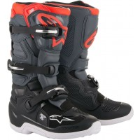 Alpinestar Tech 7S Kids Youth Motocross Boots Black Grey Flo Red