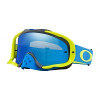 Oakley Crowbar BLUE GREEN Motocross Goggles BLACK ICE IRIDIUM LENS