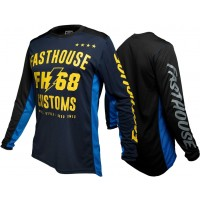 Fasthouse WORX 68 Motocross Jersey BLUE YELLOW LARGE ONLY