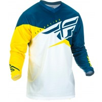2019 Fly Racing F16 Kids Youth Motocross Jersey Yellow White Navy