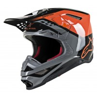 Alpinestars Supertech SM-8 SM8 Triple Motocross Helmet Gloss Orange Grey Black