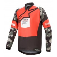 Alpinestars Racer MAGNETO Limited Edition Kids Youth Motocross Jersey Flo Red Grey Camo White