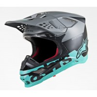 Alpinestars Supertech SM-8 SM8 Radium Motocross Helmet Matte Black Grey Teal
