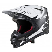 Alpinestars Supertech SM-10 SM10 DYNO Motocross Helmet Matt Black Carbon White