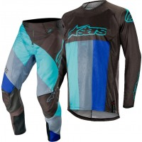 2019 Alpinestars Techstar Venom Black Turquoise Blue Motocross Gear