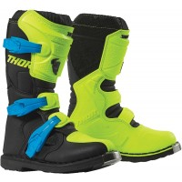 Thor Blitz XP Kids Youth Motocross Boots Black Flo Yellow