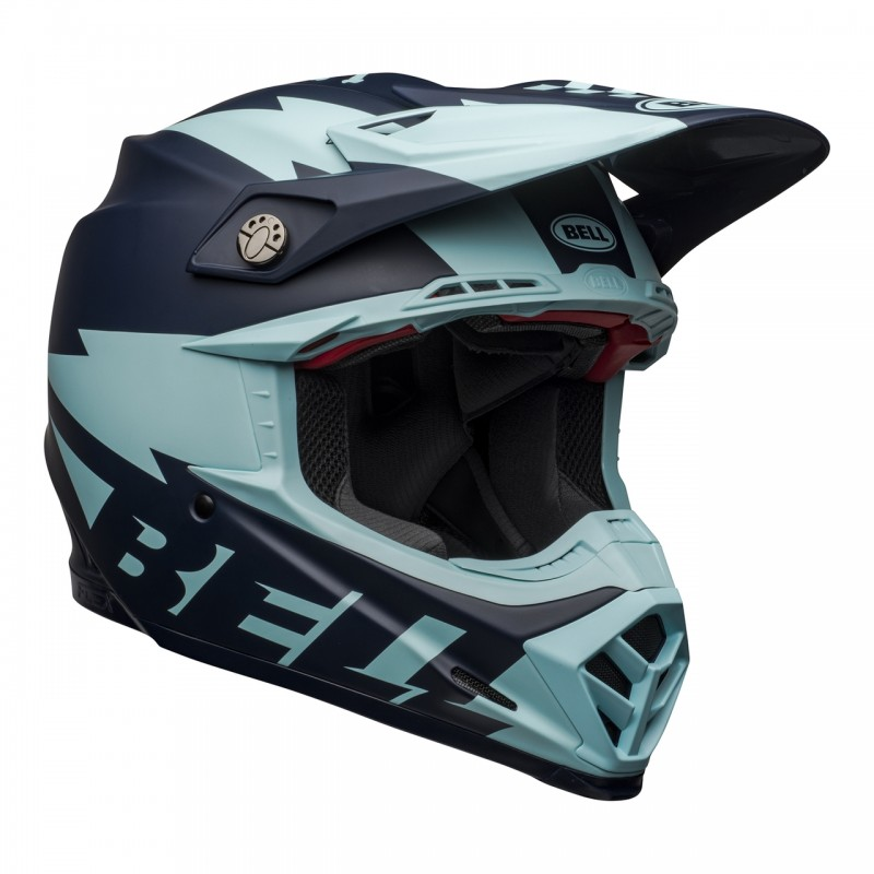 2021 Bell Moto 9 Carbon Flex Breakaway Motocross Helmet Matte Navy Light Blue