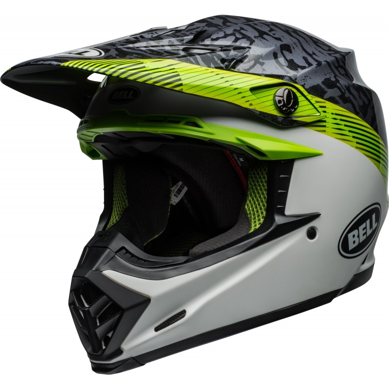 Bell Moto 9 Motocross Helmet CHIEF Matte Gloss Black White Green