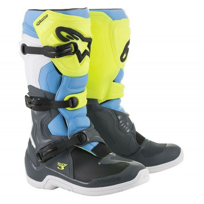 Alpinestars Tech 3 Motocross Boots COOL GREY FLO YELLOW CYAN