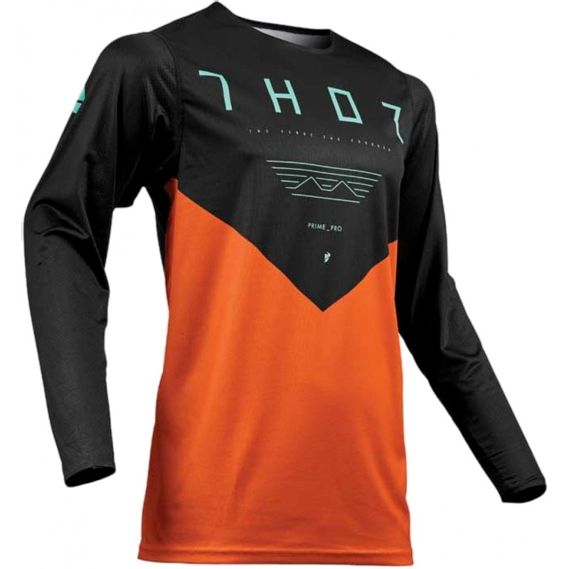 Thor MX Prime Pro Jet Motocross Jersey Black Red Orange LARGE or XXL ONLY