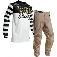 Thor MX Hallman Ringer Motocross Gear White Black Tan