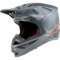 Alpinestars Supertech SM-10 SM10 Motocross Helmet Grey Flou Orange