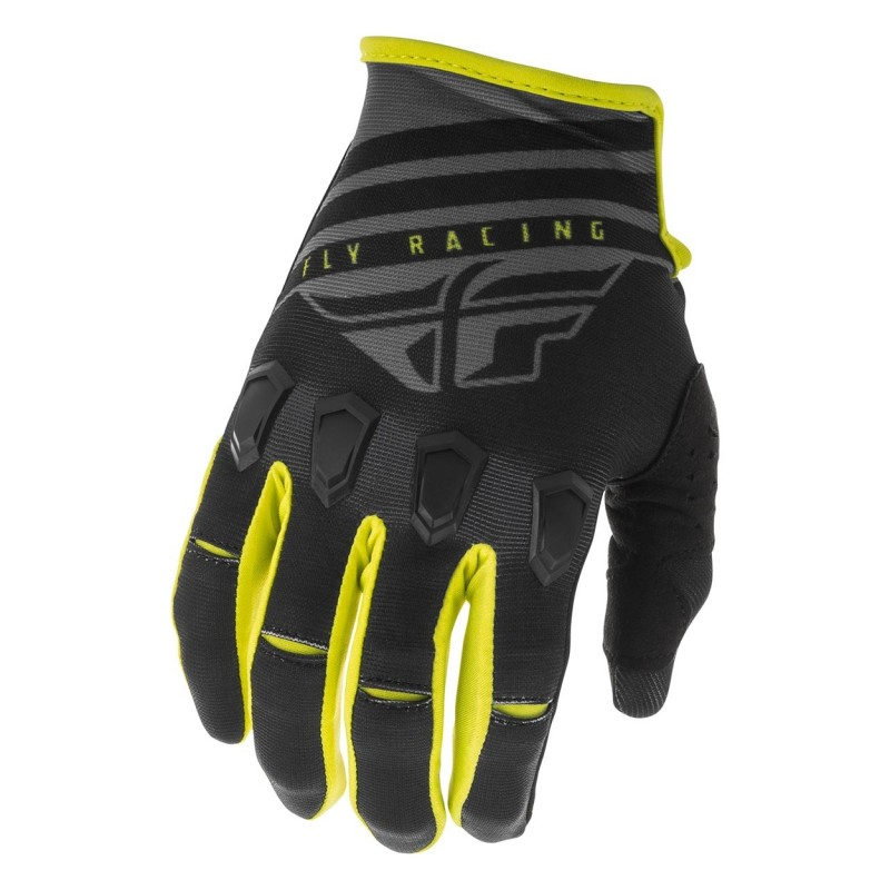2020 Fly Racing Kinetic K220 Motocross Gloves Black Grey Hi Viz