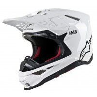 Alpinestars Supertech SM-8 SM8 Motocross Helmet Solid Gloss White SMALL or XL ONLY