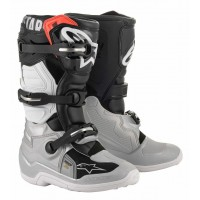 2020 Alpinestar Tech 7S Kids Youth Motocross Boots Black Silver White Gold