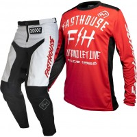 Fasthouse GRINDHOUSE Motocross Gear WHITE DICKSON RED