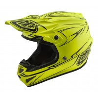 Troy Lee Designs SE4 MIPS POLY Pinstripe Yellow Motocross Helmet LARGE ONLY