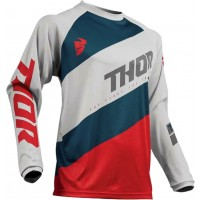 2019 Thor Sector SHEAR Motocross Jersey LIGHT GREY RED