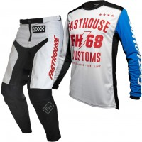 Fasthouse GRINDHOUSE Motocross Gear WHITE WORX WHITE BLUE