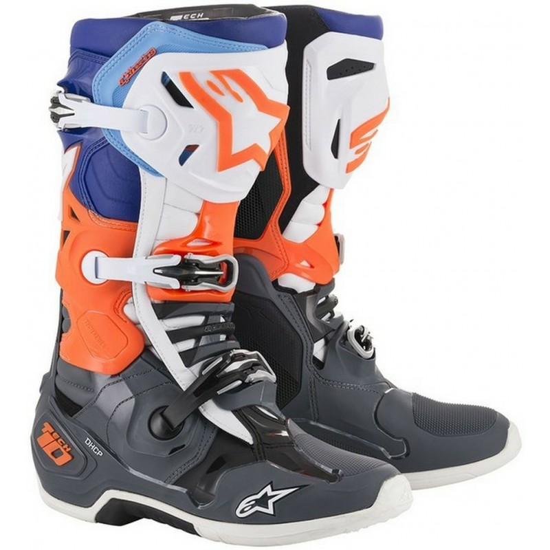 Alpinestars Tech 10 Motocross Boots Cool Grey Flo Orange Blue White