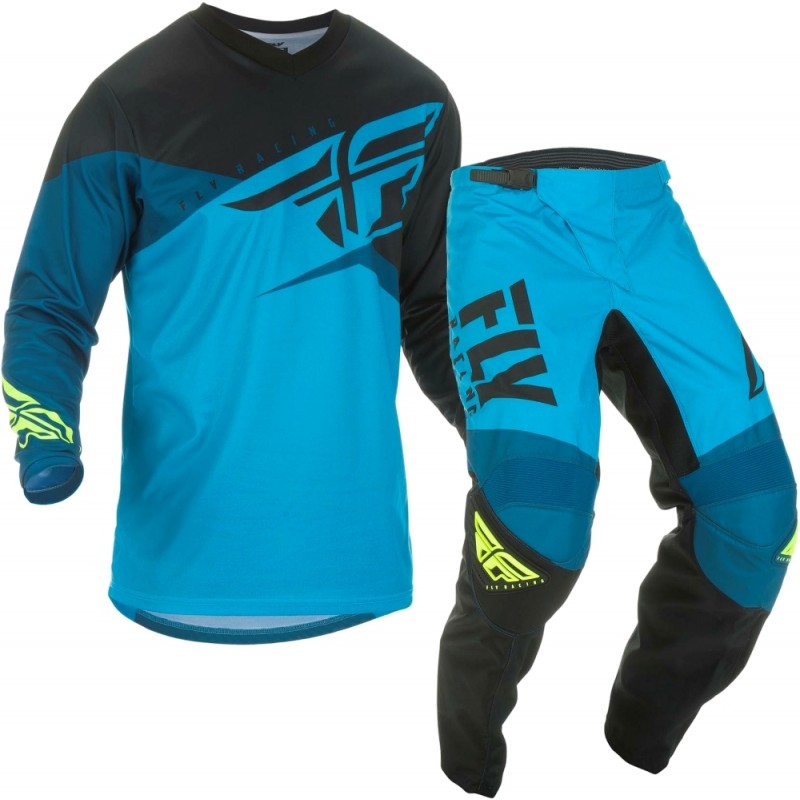 2019 Fly Racing F16 Motocross Gear Blue Black Hi Viz