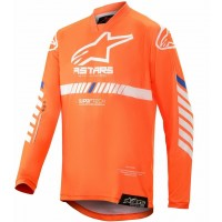 2020 Alpinestars Racer TECH Flo Orange White Blue Kids Youth Motocross Jersey