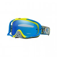 Oakley Crowbar CAMO VINE GREEN BLUE Motocross Goggles BLACK IRIDIUM LENS