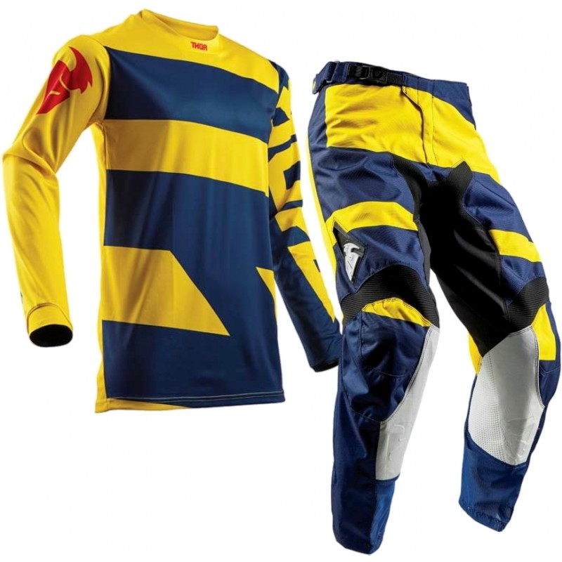 Thor MX Pulse LEVEL Motocross Gear Navy Yellow