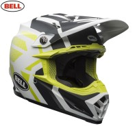 Bell Moto 9 Motocross Helmet District Matte White Black Green