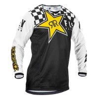 2020 Fly Racing Kinetic ROCKSTAR Motocross Jersey Black White LARGE ONLY