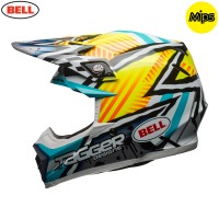 Bell Moto 9 Motocross Helmet Tagger Yellow Blue White Asymetric