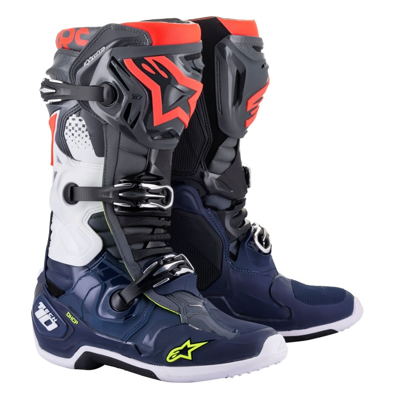 Alpinestars Tech 10 Motocross Boots Dark Grey Dark Blue Flo Red
