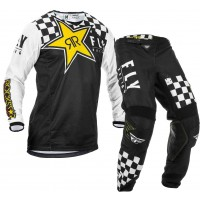 2020 Fly Racing Kinetic ROCKSTAR Motocross Gear Black White
