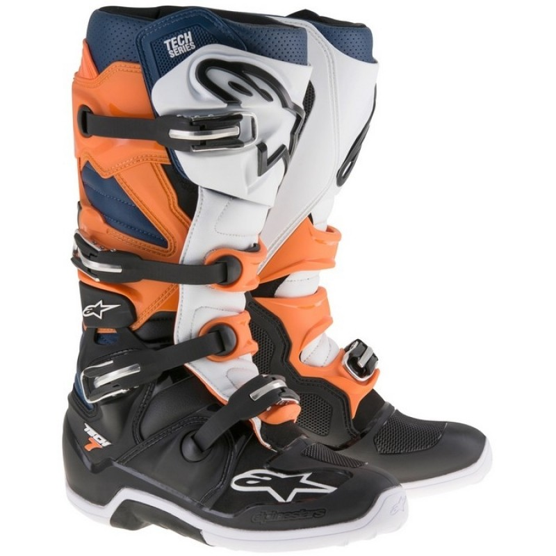 Alpinestars Tech 7 Motocross Boots BLACK ORANGE WHITE BLUE