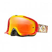 Oakley Crowbar CAMO VINE RED YELLOW Motocross Goggles FIRE IRIDIUM LENS