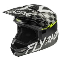 2020 Fly Racing Kinetic Sketch Youth Kids Motocross Helmet BLACK WHITE HI VIZ