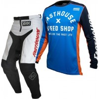 Fasthouse GRINDHOUSE Motocross Gear WHITE HERITAGE BLUE