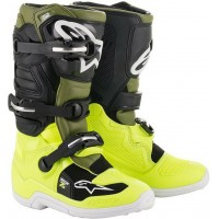 Alpinestar Tech 7S Kids Youth Motocross Boots Yellow Military Green