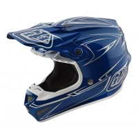 Troy Lee Designs SE4 MIPS POLY Pinstripe Blue Motocross Helmet