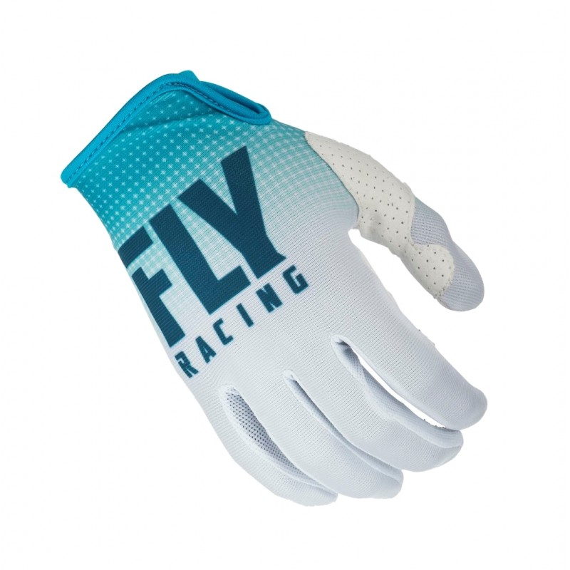 2019 Fly Racing Lite Kids Youth Motocross Gloves Blue White LARGE ONLY