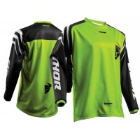 Thor Sector Zones Kids Youth Motocross Jersey BLACK LIME