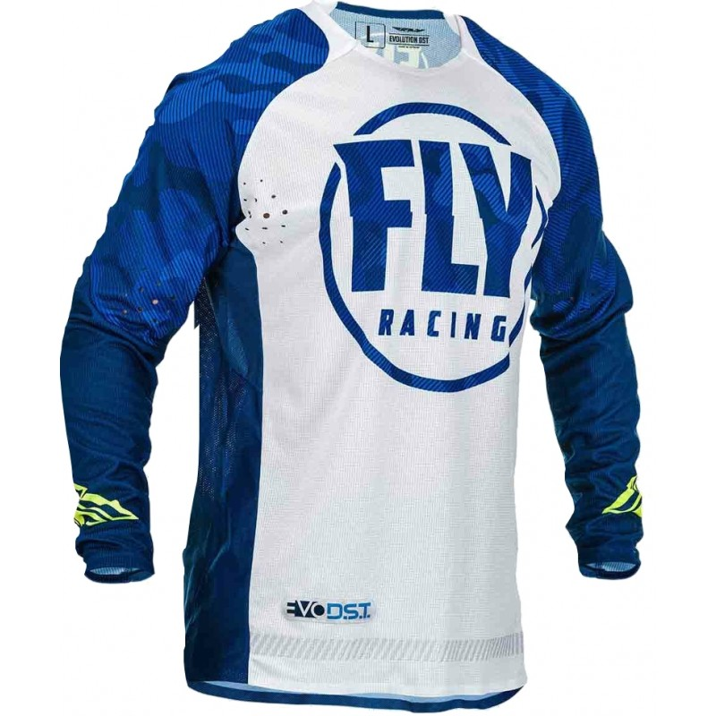 2020 Fly Racing Evolution Motocross Jersey Blue White Camo