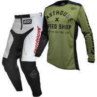 Fasthouse GRINDHOUSE Motocross Gear WHITE HERITAGE OLIVE