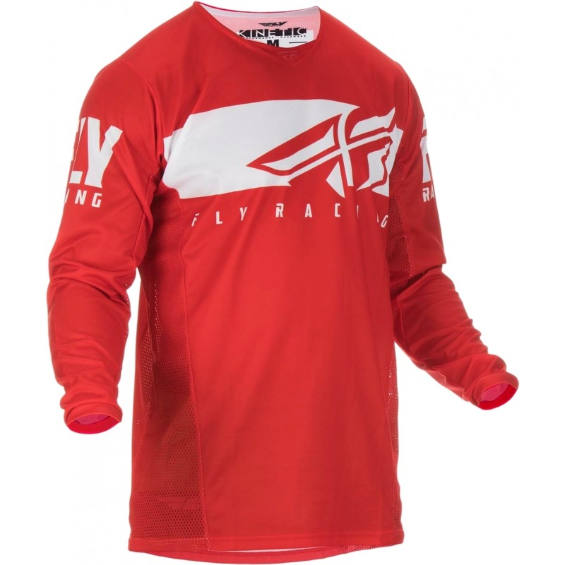 2019 Fly Racing Kinetic Shield Kids Youth Motocross Jersey Red Grey LARGE ONLY